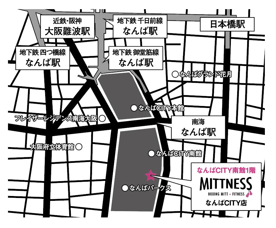 ミットネスなんばCITY店のイラスト地図です